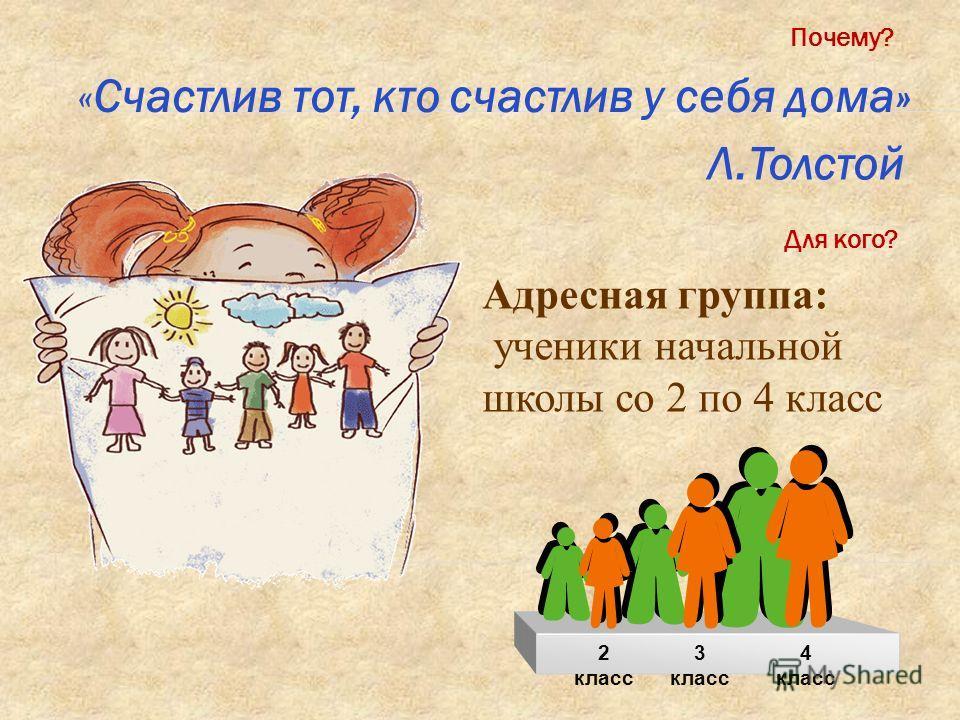 «Счастлив тот, кто счастлив у себя дома» Л.Толстой Почему? Для кого? Адресная группа: ученики начальной школы со 2 по 4 класс 2 класс 3 класс 4 класс