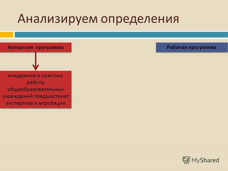 Анализируем определения Авторская программа Рабочая программа внедрению в практику работы общеобразовательных учреждений предшествуют экспертиза и апробация