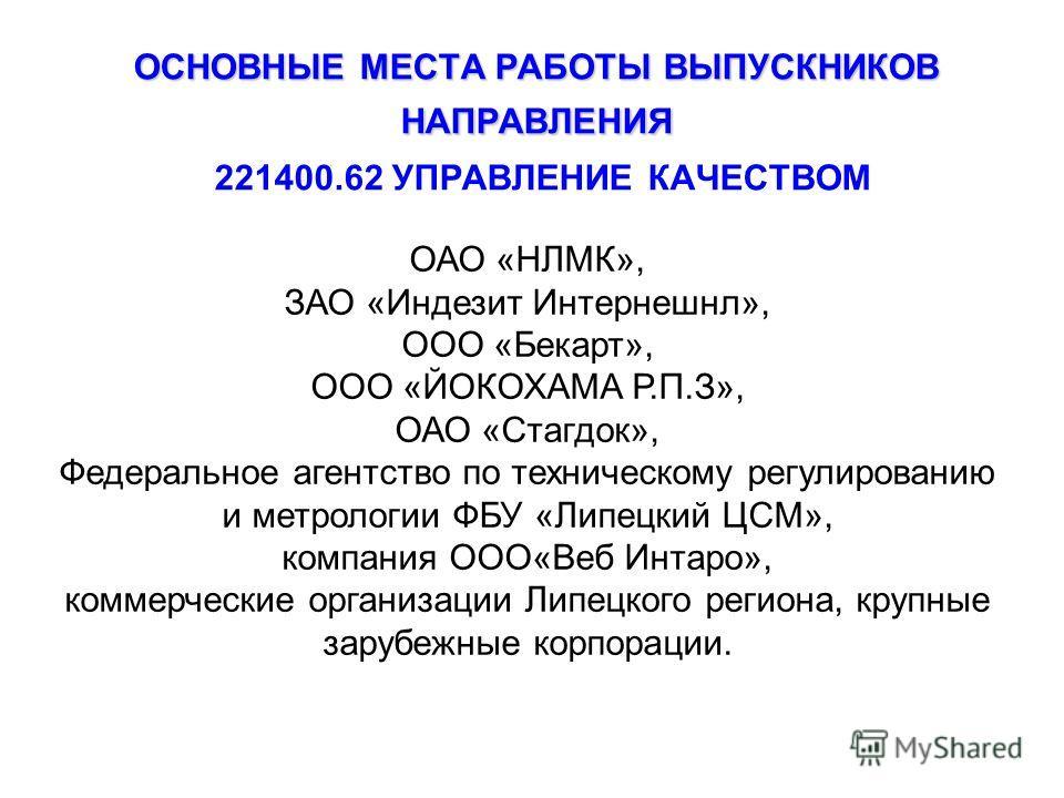 ОСНОВНЫЕ МЕСТА РАБОТЫ ВЫПУСКНИКОВ НАПРАВЛЕНИЯ ОСНОВНЫЕ МЕСТА РАБОТЫ ВЫПУСКНИКОВ НАПРАВЛЕНИЯ 221400.62 УПРАВЛЕНИЕ КАЧЕСТВОМ ОАО «НЛМК», ЗАО «Индезит Интернешнл», ООО «Бекарт», ООО «ЙОКОХАМА Р.П.З», ОАО «Стагдок», Федеральное агентство по техническому