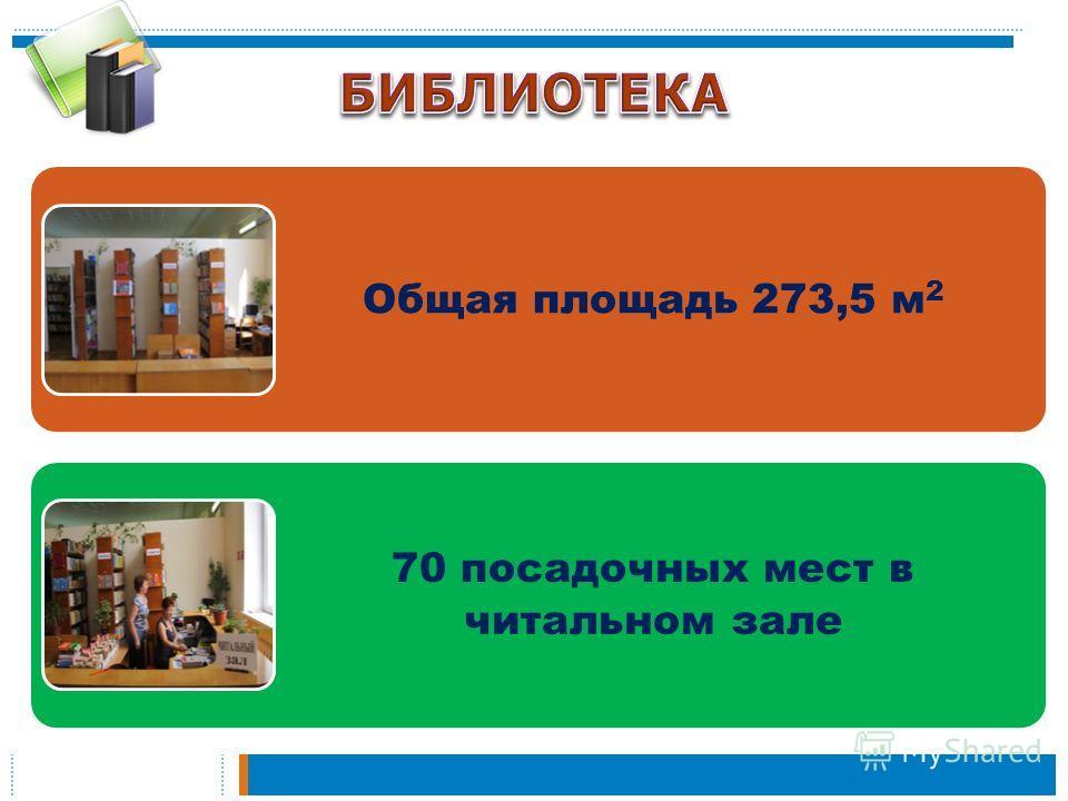 Общая площадь 273,5 м 2 70 посадочных мест в читальном зале