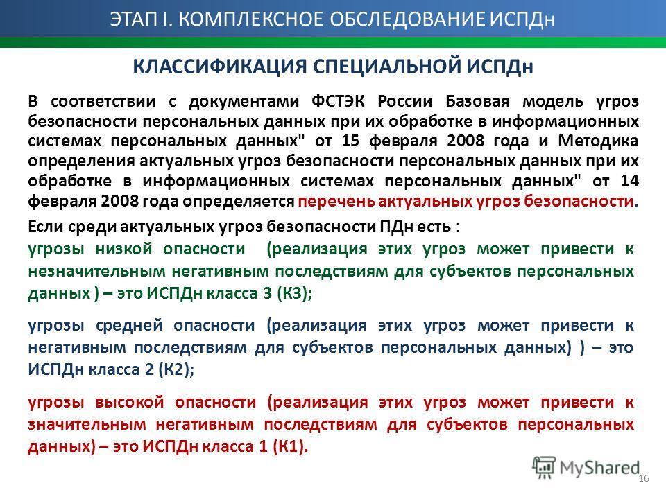 16 КЛАССИФИКАЦИЯ СПЕЦИАЛЬНОЙ ИСПДн В соответствии с документами ФСТЭК России Базовая модель угроз безопасности персональных данных при их обработке в информационных системах персональных данных