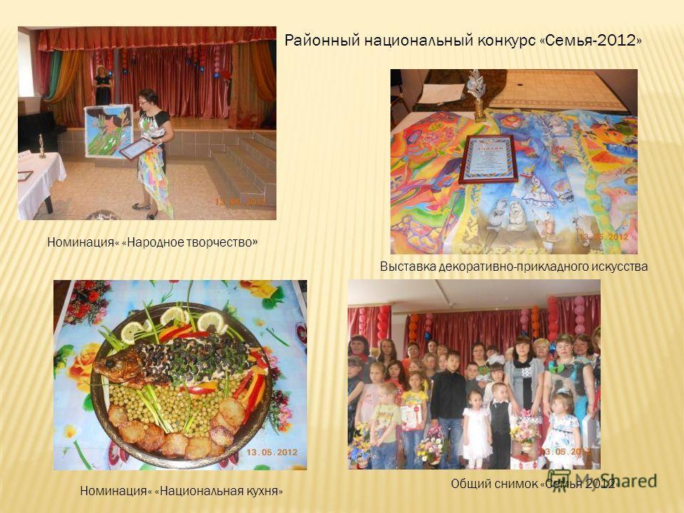 Районный национальный конкурс «Семья-2012» Выставка декоративно-прикладного искусства Номинация« «Народное творчество » Номинация« «Национальная кухня» Общий снимок «Семья 2012»