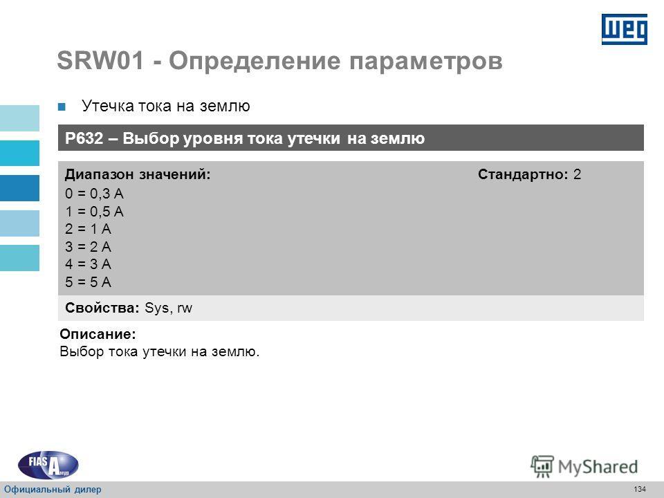 133 SRW01 - Определение параметров Утечка тока на землю Защита от утечки тока на землю Свойства: Sys, rw Диапазон значений: 0 = Отключено 1 = Включено Стандартно: 0 Описание: Включение и отключение защиты от утечки тока на землю. Официальный дилер