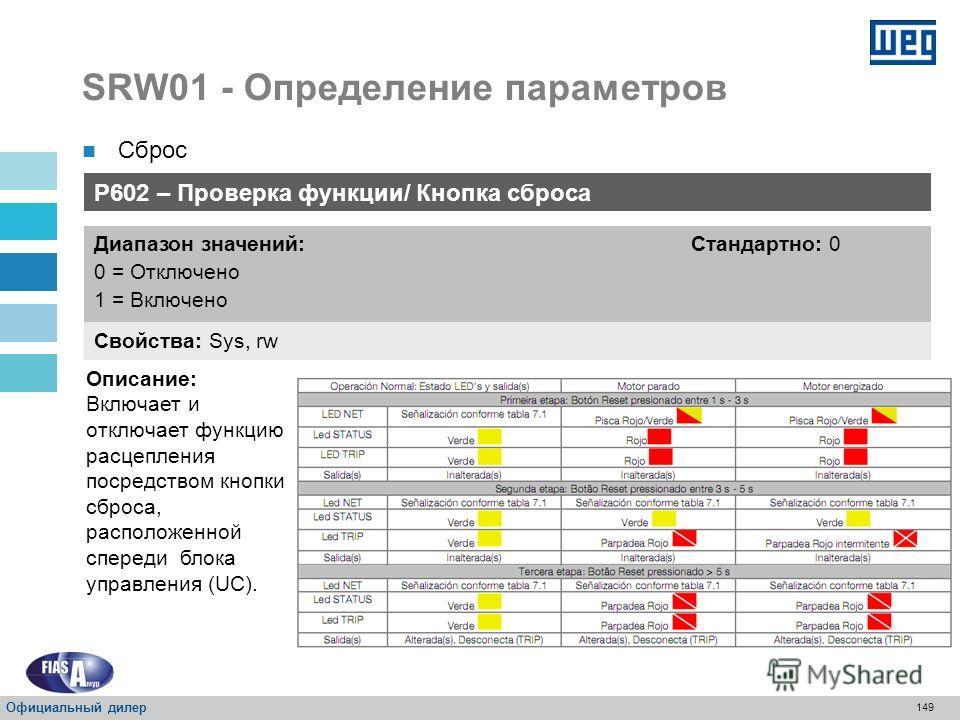 148 SRW01 - Определение параметров P601 – Выбор сброса Свойства: Sys, rw Диапазон значений: 0 = Нет локального сброса 1 = Передняя кнопка 2 = Кнопка сброса в MMI 3 = Цифровой ввод I3 4 = Цифровой ввод I4 Стандартно: 1 Описание: Выбор источника команд