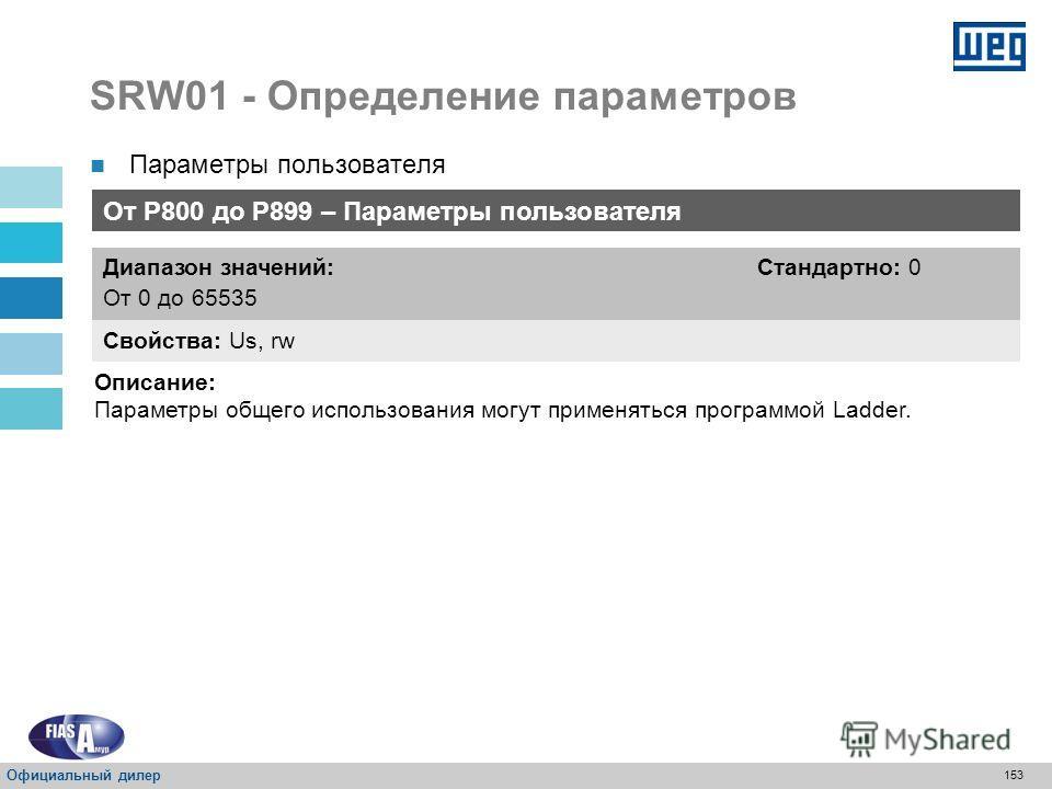 152 SRW01 - Определение параметров P001 – Время цикла сканирования Свойства: RO Диапазон значений: От 0,0 до 6553,5 мс Стандартно: - Описание: Представляет собой время цикла выполнения программы пользователя в миллисекундах (мс). P163 – Отключение пр