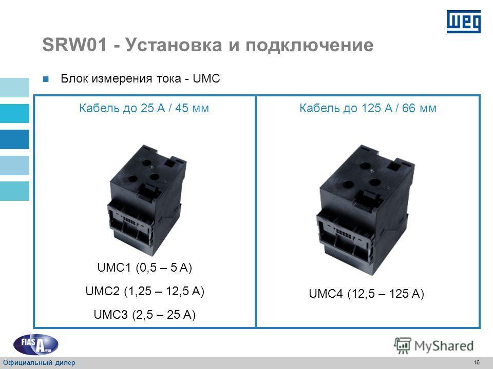 15 Трехфазное соединение - L1, L2 y L3 Однофазное соединение - L1 y L2 Силовые кабели Защита трёхфазной и однофазной нагрузки; SRW01- Установка и подключение Официальный дилер