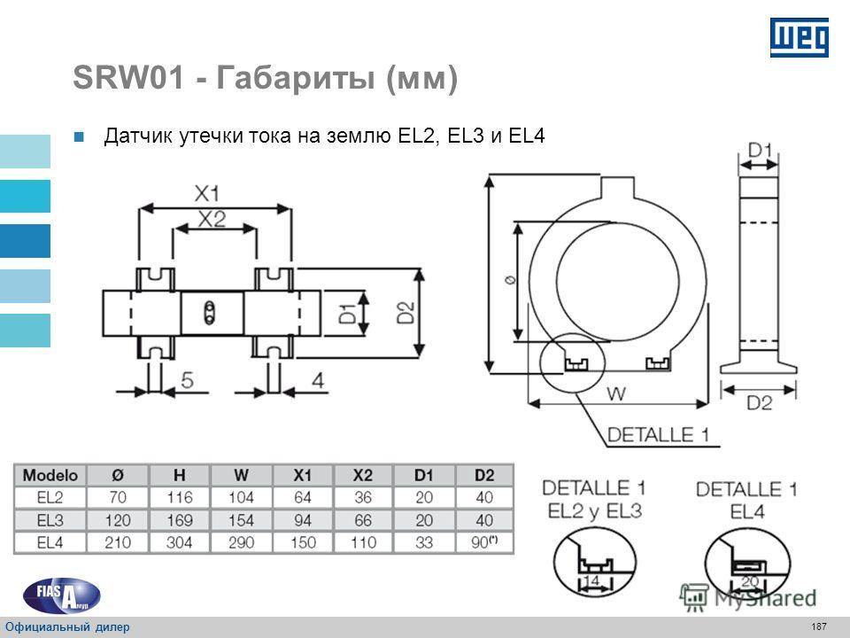 186 SRW01 - Габариты (мм) Датчик утечки тока на землю EL1 Официальный дилер
