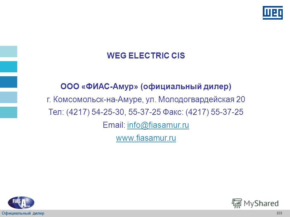 202 Доступны на сайте www.weg.net SRW01 – Руководства по оборудованию передачи данных Официальный дилер