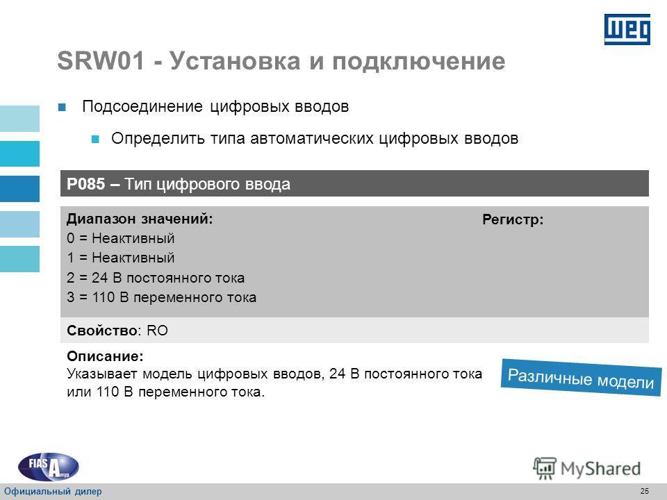 24 SRW01 - Установка и подключение 24 Vcc Подсоединение цифровых вводов Подключение к внешнему источнику для цифровых вводов Взять только 3 цифровых ввода Официальный дилер