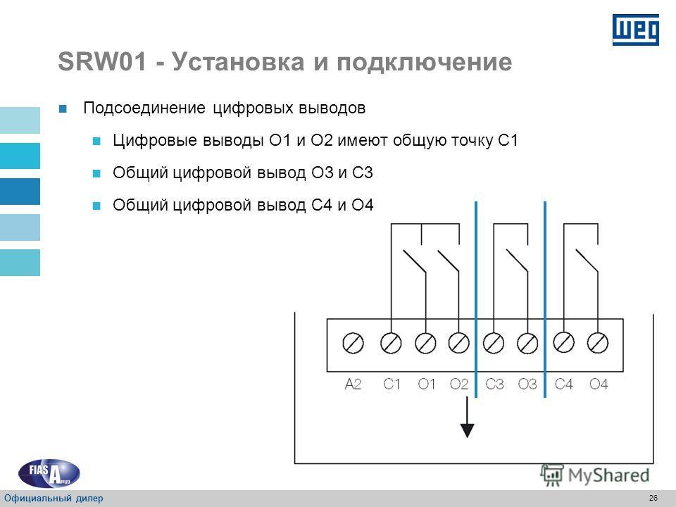 25 SRW01 - Установка и подключение P085 – Тип цифрового ввода Свойство: RO Диапазон значений: 0 = Неактивный 1 = Неактивный 2 = 24 В постоянного тока 3 = 110 В переменного тока Регистр: Описание: Указывает модель цифровых вводов, 24 В постоянного ток