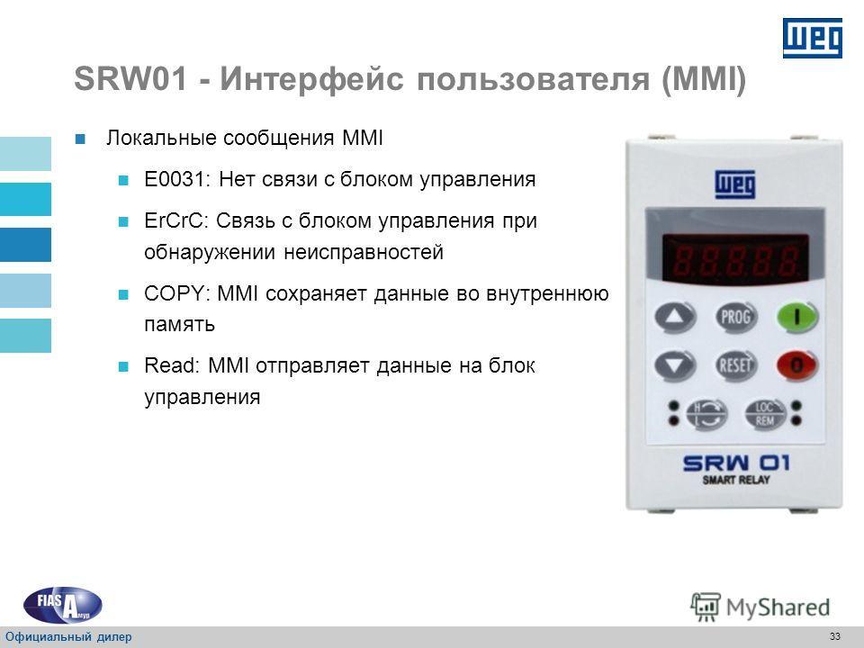 32 SRW01 - Интерфейс пользователя (MMI) Клавиши Сброс ошибки/ расцепление, когда параметр P601 = 2; Возврат к параметрам считывания, заданным параметром P205 Если локальный/ дистанционный источник это MMI, P220 = 2 или 3, режим работы SRW 01 изменитс
