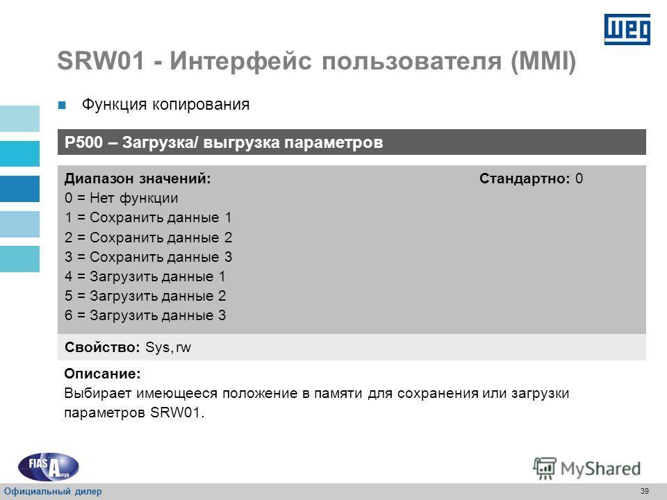 38 SRW01 - Интерфейс пользователя (HMI) P000 – Параметры доступа Свойство: rw Диапазон значений: 0-999 Стандартно: 0 Описание: Свободный доступ, через пароль для изменения содержания параметров. Пароль для определения параметров Официальный дилер