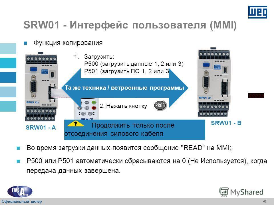 41 SRW01 - Интерфейс пользователя (MMI) SRW01 - A COPY Когда данные сохранены, появляется сообщение