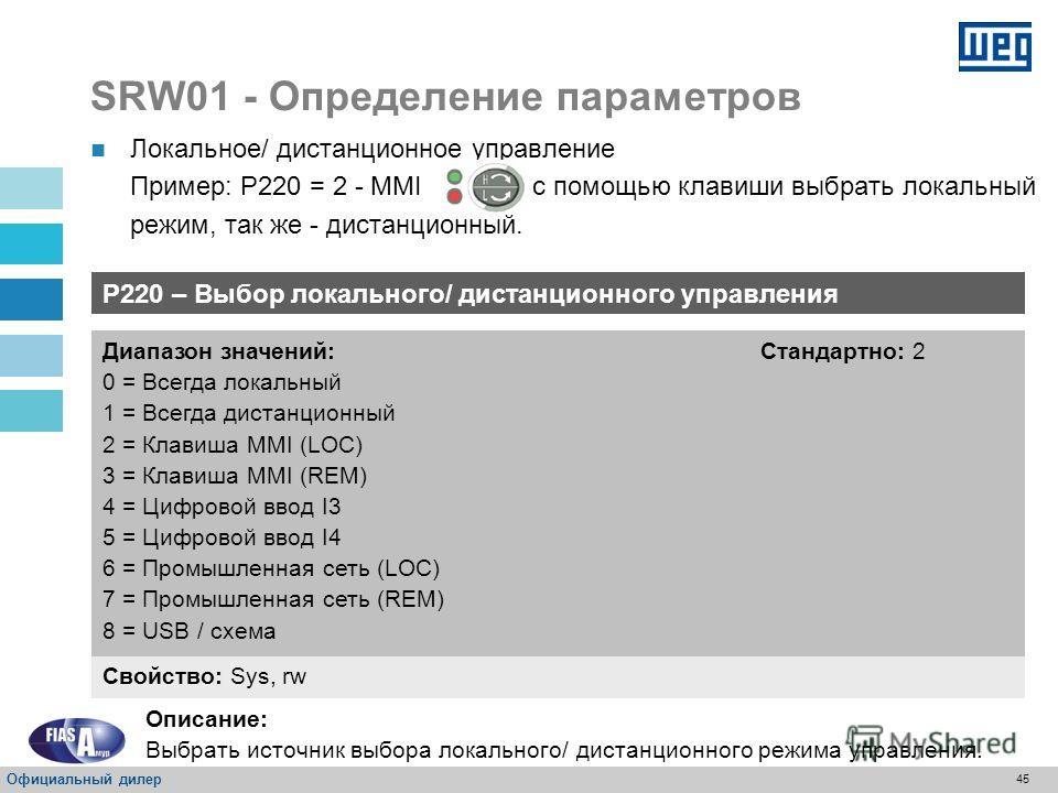 44 SRW01 – Определение параметров Управление Выбор локального/ дистанционного управления; Выбор локальных команд; Цифровые вводы/ выводы; Режим работ; Конфигурация двигателя; Конфигурация сети передачи данных. Защита Конфигурация несимметрии тока; Ко