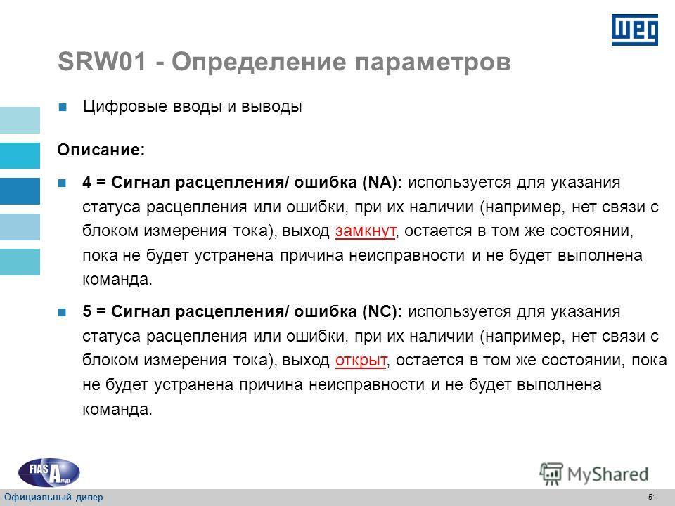 50 SRW01 - Определение параметров Цифровые вводы и выводы Описание: 0 = Внутреннее использование: используется в соответствии с выбранным режимом работы (P202); 1 = Схема: используется с помощью программы пользователя, установленной на схеме; 2 = Про