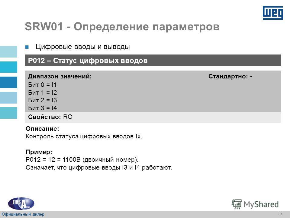 52 SRW01 - Определение параметров Цифровые вводы и выводы Наличие цифровых выводов: Режим работыВыход 1 – O1Выход 2 – O2Выход 3 – O3Выход 4 – O4 ПрозрачныйСхема Реле перегрузки Внутреннее использование Схема Прямой пуск Внутреннее использование Схема