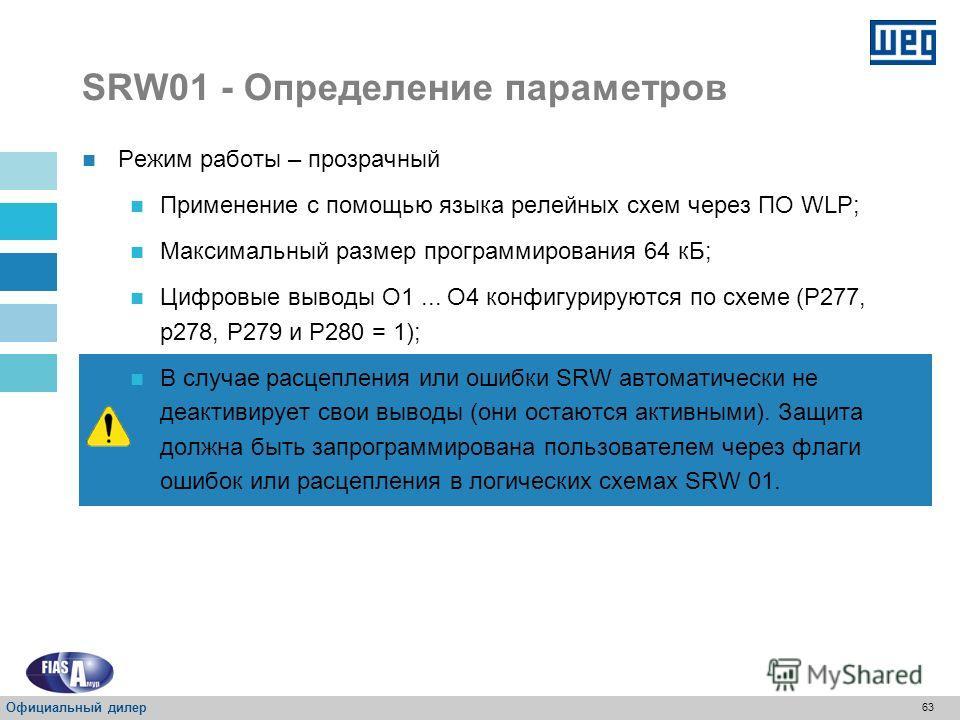 62 SRW01 - Определение параметров Режим работы – прозрачный ФункцияВводВывод СвободныйI1- СвободныйI2- СвободныйI3- СвободныйI4- Схема-O1 Схема-O2 Схема-O3 Схема-O4 110 В переменного тока 24 В постоянного тока