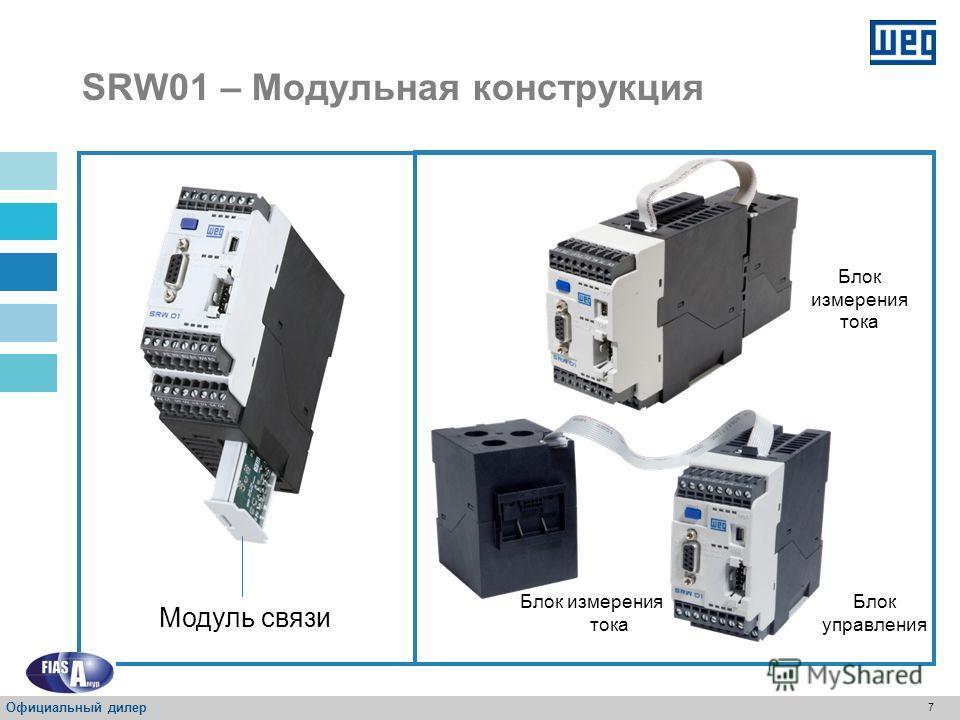 6 SRW01 Измерение тока Микропроцессор Защита двигателя Команды Диагностика Сети передачи данных SRW01 – Концепция Официальный дилер