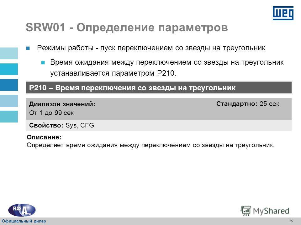 74 SRW01 - Определение параметров 24 В постоянного тока 110 В переменного тока Режим работы – схема