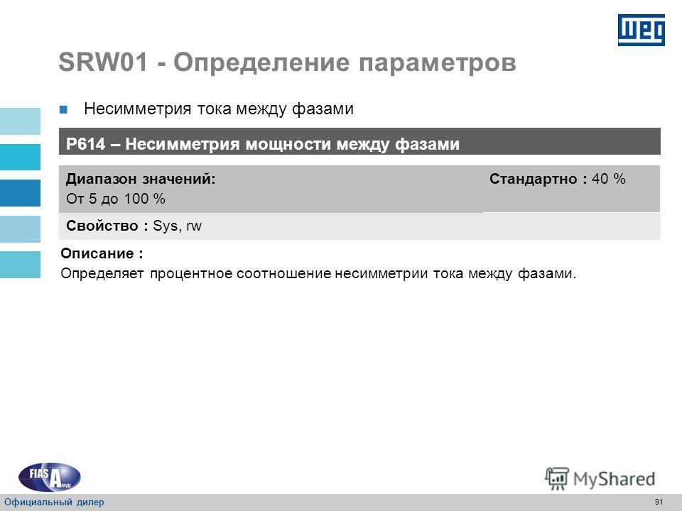 90 SRW01 - Определение параметров Несимметрия тока между фазами Соблюдать рекомендации NEMA MG1, в котором сказано, что несимметрия напряжения 5% соответствует 30-50% несимметрии тока; Только для трехфазовых двигателей. Официальный дилер
