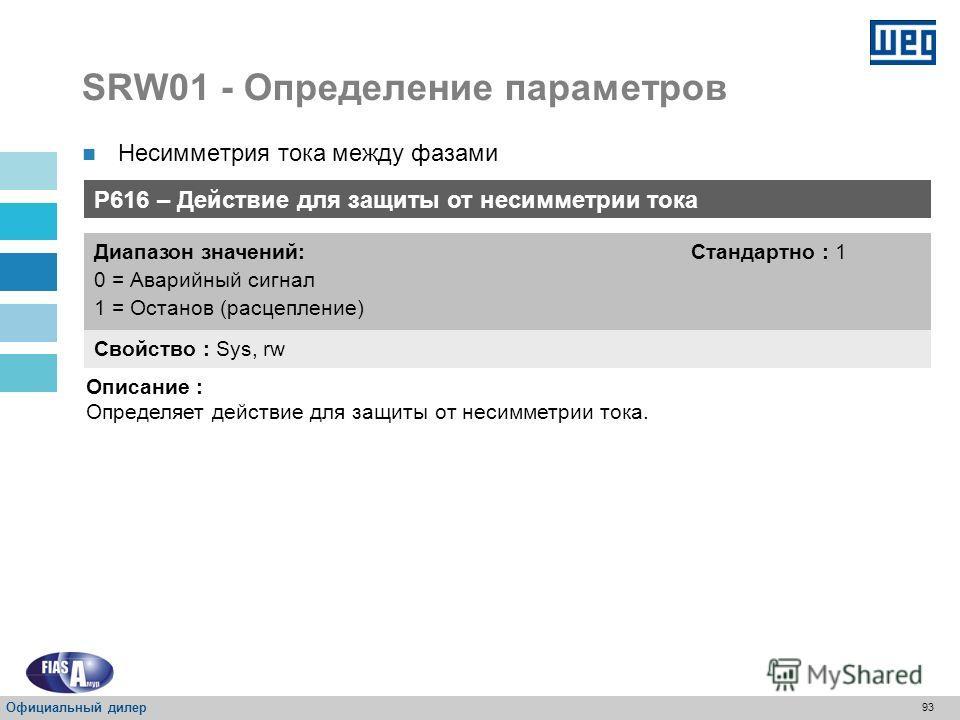 92 SRW01 - Определение параметров P615 – Время несимметрии тока Свойство : Sys, rw Диапазон значений: 0 = Неактивное От 1 до 99 сек = Активное Стандартно : 3 сек Описание : Устанавливает время несимметрии тока между фазами, для обесточивания двигател