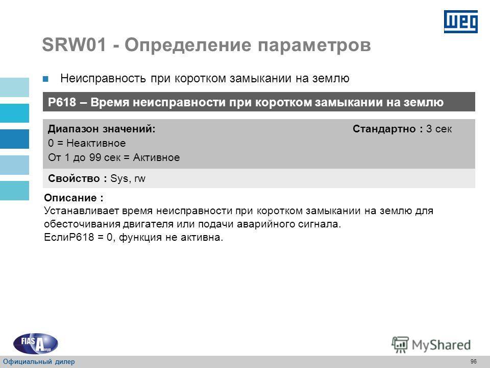 95 SRW01 - Определение параметров P617 – Неисправность при коротком замыкании на землю Свойство : Sys, rw Диапазон значений: От 40 до 100 % Стандартно : 50 % Описание : Определяет процентное соотношение тока замыкания на землю при неисправности. Неис
