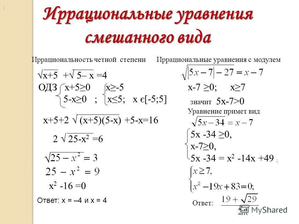 Иррациональные уравнения смешанного вида Иррациональность четной степени ОДЗ x+50 x-5 5-х0 ; х5; х є х+5+2 (х+5)(5-х) +5-х=16 2 25-х 2 =6 : х 2 -16 =0 Ответ: x = –4 и x = 4 [-5;5] х+5 + 5– х =4 Иррациональные уравнения с модулем х-7 0;х7 значит 5х-7>