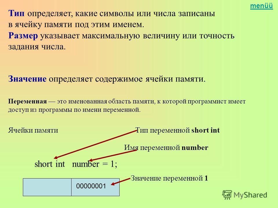menüü Тип определяет, какие символы или числа записаны в ячейку памяти под этим именем. Размер указывает максимальную величину или точность задания числа. Переменная это именованная область памяти, к которой программист имеет доступ из программы по и