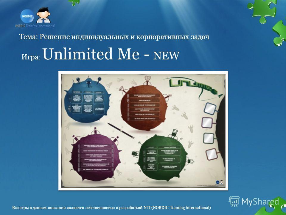 Все игры в данном описании являются собственностью и разработкой NTI (NORDIC Training International) Тема: Решение индивидуальных и корпоративных задач Игра: Unlimited Me - NEW