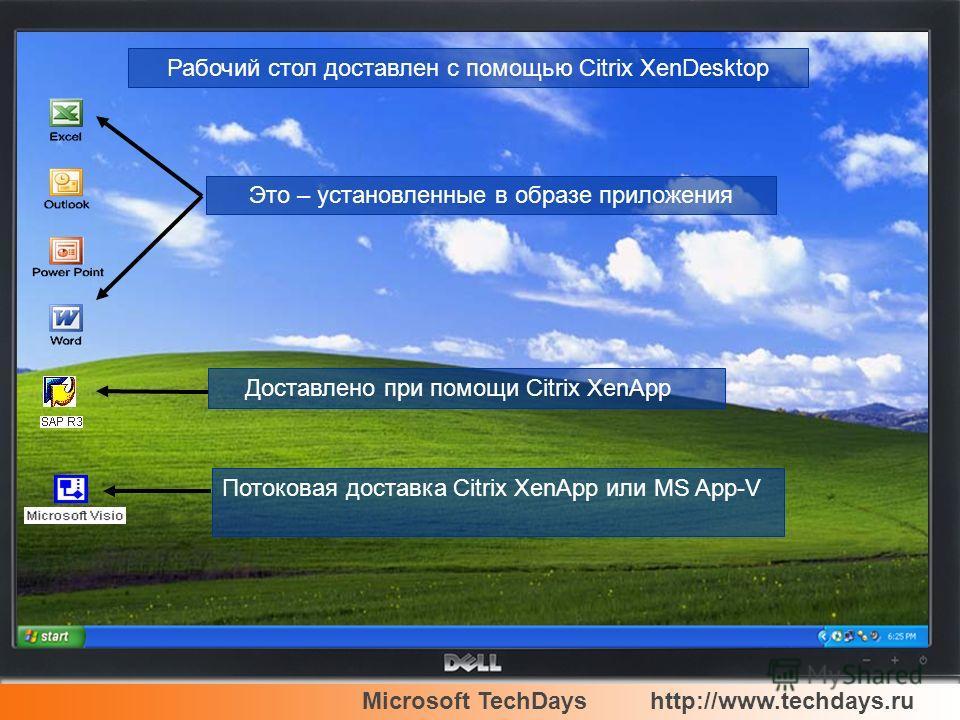 Microsoft TechDayshttp://www.techdays.ru Это – установленные в образе приложения Потоковая доставка Citrix XenApp или MS App-V Доставлено при помощи Citrix XenApp Рабочий стол доставлен с помощью Citrix XenDesktop