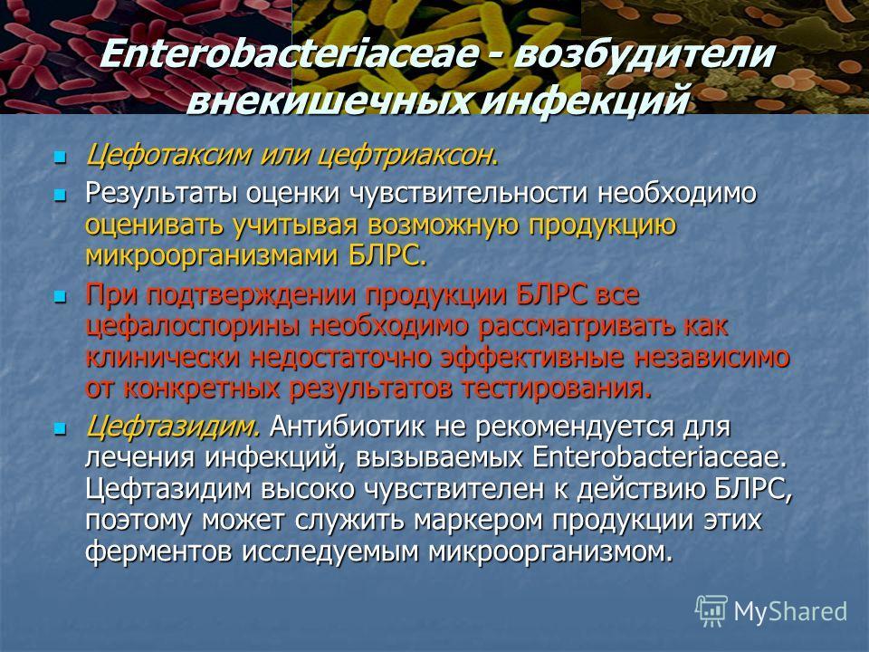 Enterobacteriaceae - возбудители внекишечных инфекций Цефотаксим или цефтриаксон. Цефотаксим или цефтриаксон. Результаты оценки чувствительности необходимо оценивать учитывая возможную продукцию микроорганизмами БЛРС. Результаты оценки чувствительнос