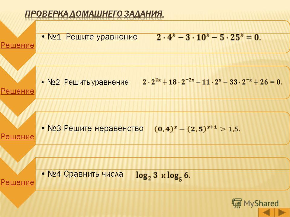 Решение 1 Решите уравнение Решение 2 Решить уравнение Решение 3 Решите неравенство Решение 4 Сравнить числа