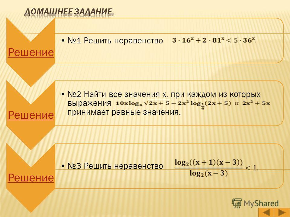 Решение 1 Решить неравенство Решение 2 Найти все значения x, при каждом из которых выражения принимает равные значения. Решение 3 Решить неравенство