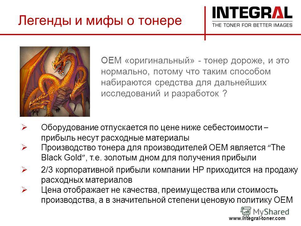 Легенды и мифы о тонере www.integral-toner.com Оборудование отпускается по цене ниже себестоимости – прибыль несут расходные материалы Производство тонера для производителей ОЕМ является The Black Gold, т.е. золотым дном для получения прибыли 2/3 кор