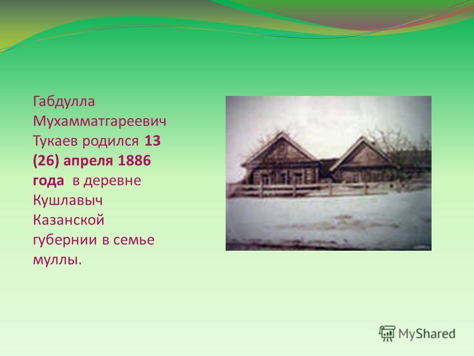 Габдулла Мухамматгареевич Тукаев родился 13 (26) апреля 1886 года в деревне Кушлавыч Казанской губернии в семье муллы.