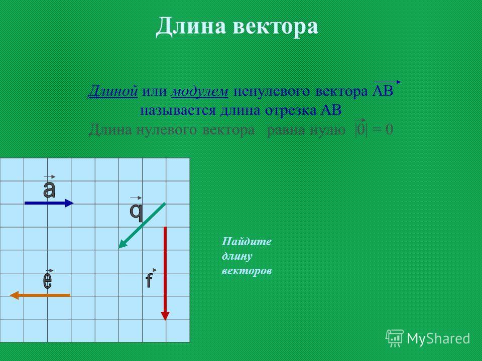 Длиной или модулем ненулевого вектора АВ называется длина отрезка АВ Длина нулевого вектора равна нулю |0| = 0 Найдите длину векторов