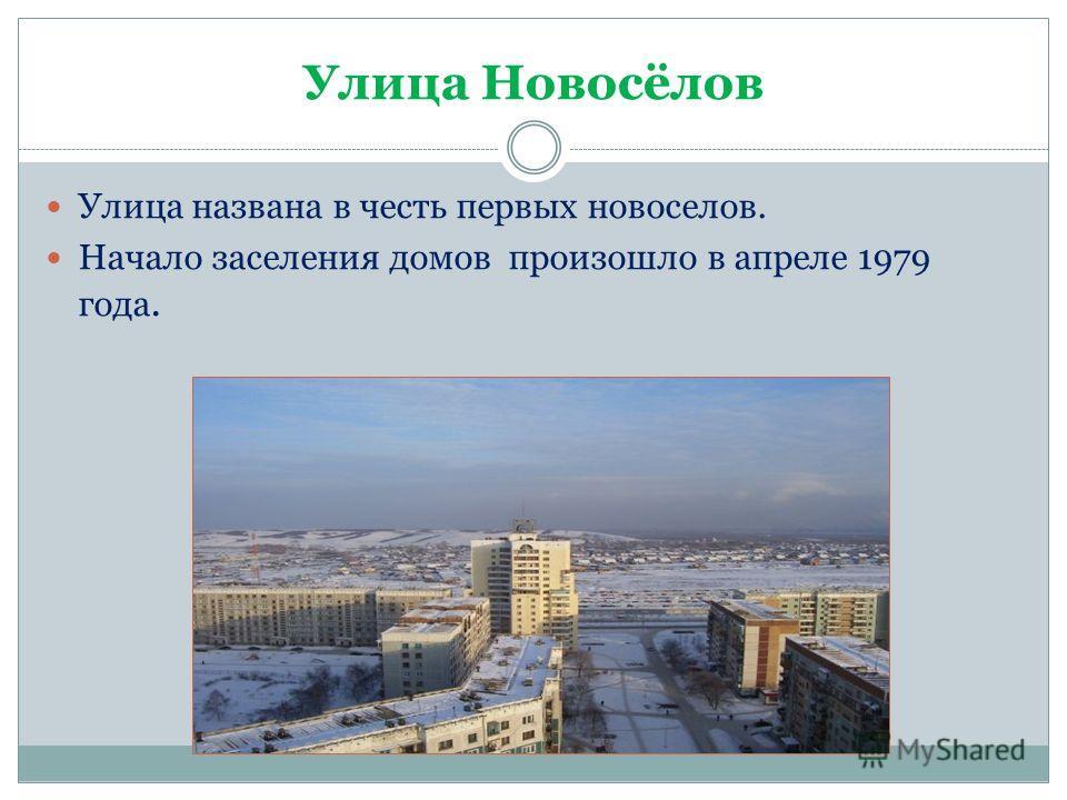Улица Новосёлов Улица названа в честь первых новоселов. Начало заселения домов произошло в апреле 1979 года.
