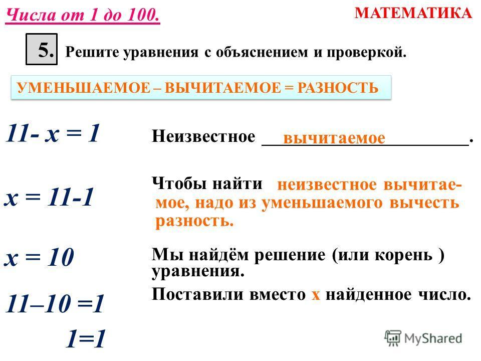 5. Решите уравнения с объяснением и проверкой. МАТЕМАТИКА Числа от 1 до 100. х - 5 = 6 УМЕНЬШАЕМОЕ – ВЫЧИТАЕМОЕ = РАЗНОСТЬ Неизвестное ______________________. Чтобы найти Мы найдём решение (или корень ) уравнения. Поставили вместо х найденное число.