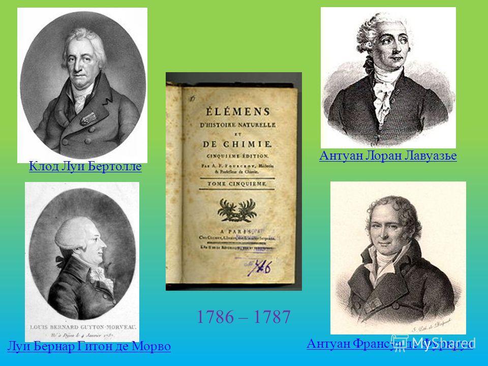 16 Антуан Франсуа де Фуркруа Клод Луи Бертолле Луи Бернар Гитон де Морво Антуан Лоран Лавуазье 1786 – 1787