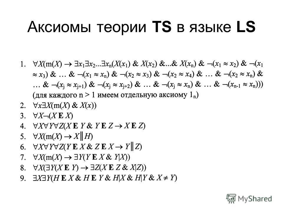 Аксиомы теории TS в языке LS