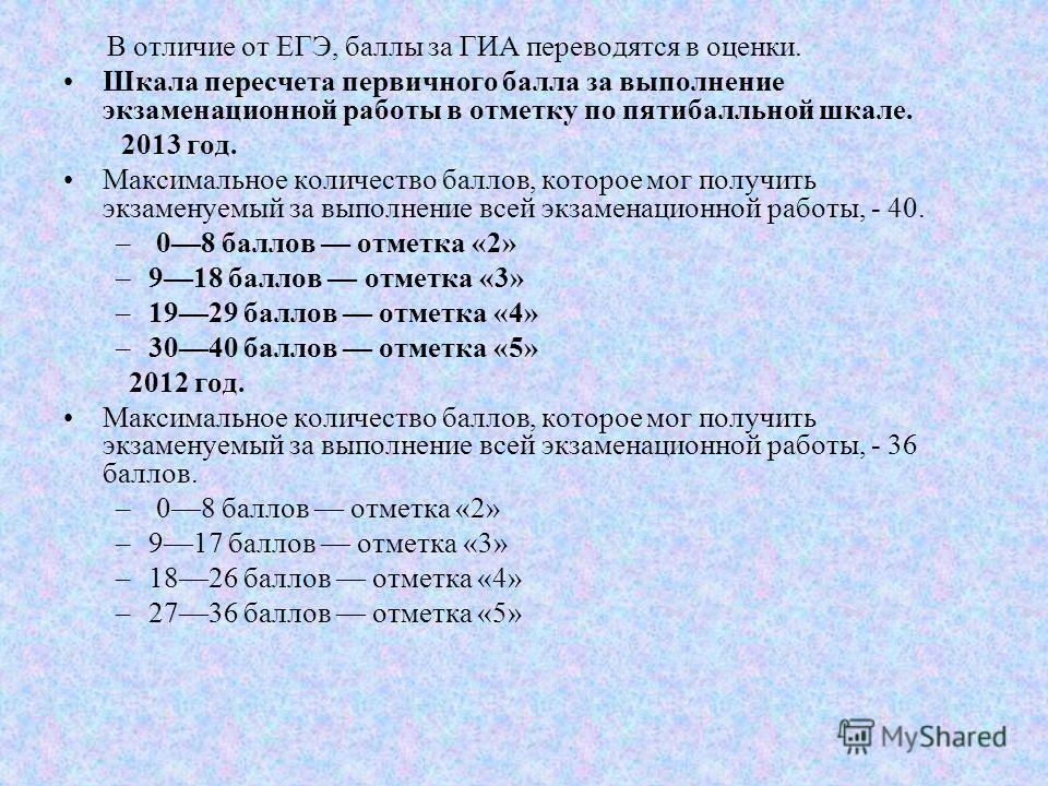 В отличие от ЕГЭ, баллы за ГИА переводятся в оценки. Шкала пересчета первичного балла за выполнение экзаменационной работы в отметку по пятибалльной шкале. 2013 год. Максимальное количество баллов, которое мог получить экзаменуемый за выполнение всей
