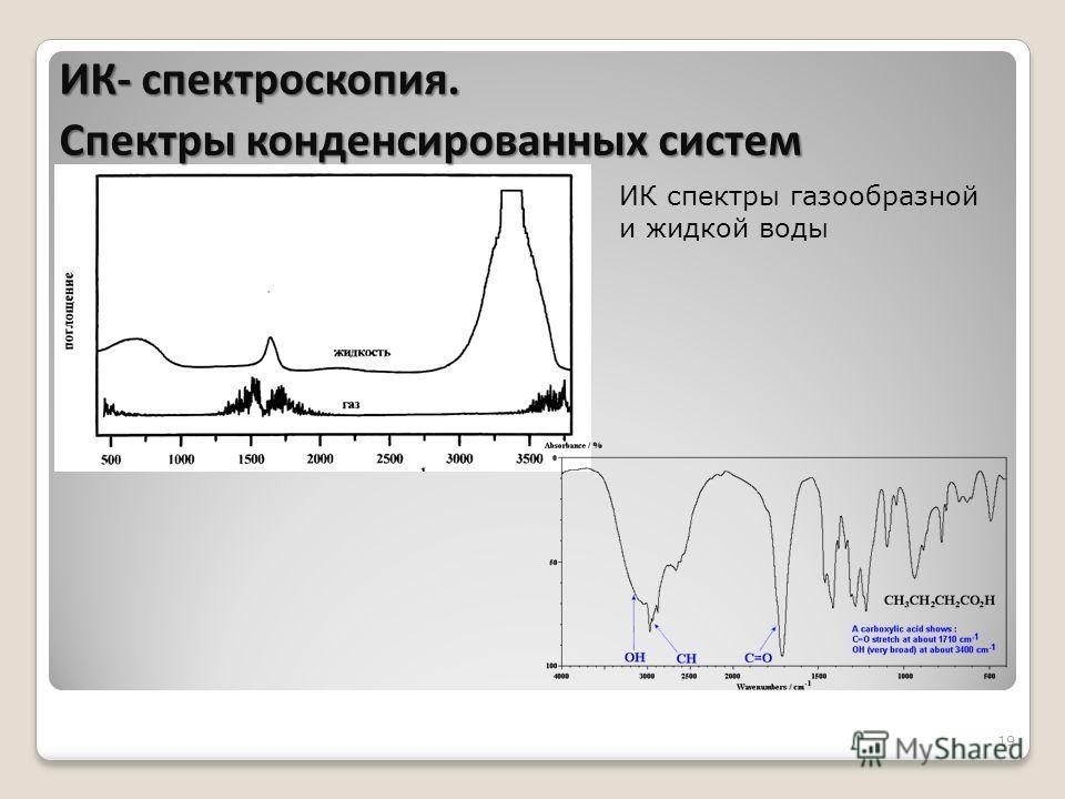 19 ИК спектры газообразной и жидкой воды ИК- спектроскопия. Спектры конденсированных систем