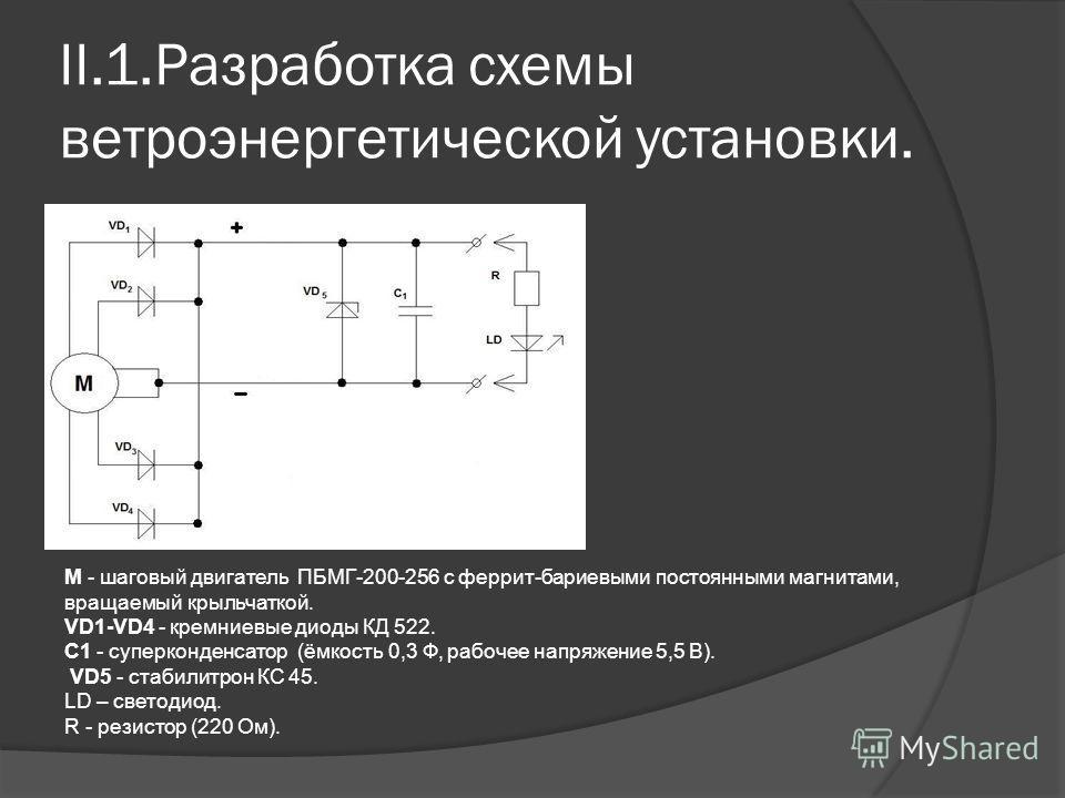 II.1.Разработка схемы ветроэнергетической установки. М - шаговый двигатель ПБМГ-200-256 с феррит-бариевыми постоянными магнитами, вращаемый крыльчаткой. VD1-VD4 - кремниевые диоды КД 522. C1 - суперконденсатор (ёмкость 0,3 Ф, рабочее напряжение 5,5 В