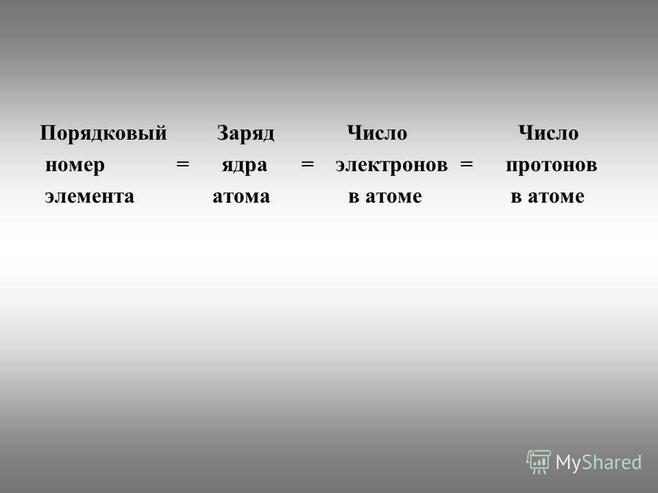 Порядковый Заряд Число Число номер = ядра = электронов = протонов элемента атома в атоме в атоме