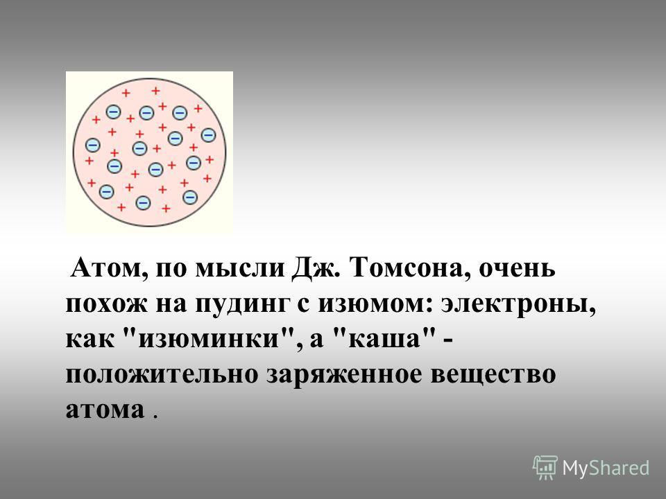 Атом, по мысли Дж. Томсона, очень похож на пудинг с изюмом: электроны, как изюминки, а каша - положительно заряженное вещество атома.