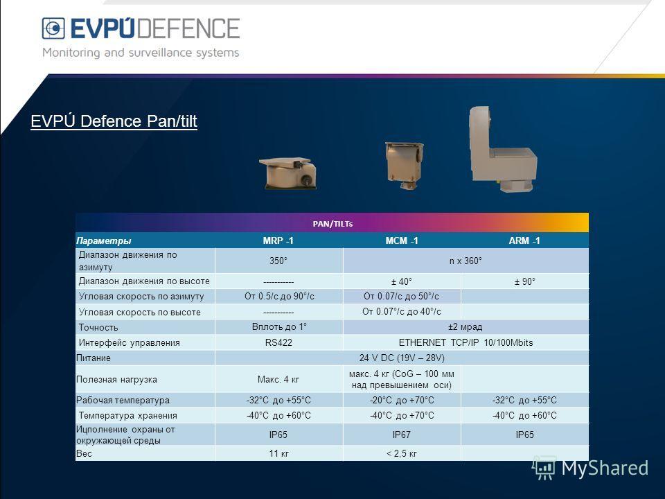 EVPÚ Defence Pan/tilt PAN/TILTs ПараметрыMRP -1MCM -1ARM -1 Диапазон движения по азимуту 350°n x 360° Диапазон движения по высоте -----------± 40°± 90° Угловая скорость по азимуту От 0.5/с до 90°/сОт 0.07/с до 50°/с Угловая скорость по высоте -------