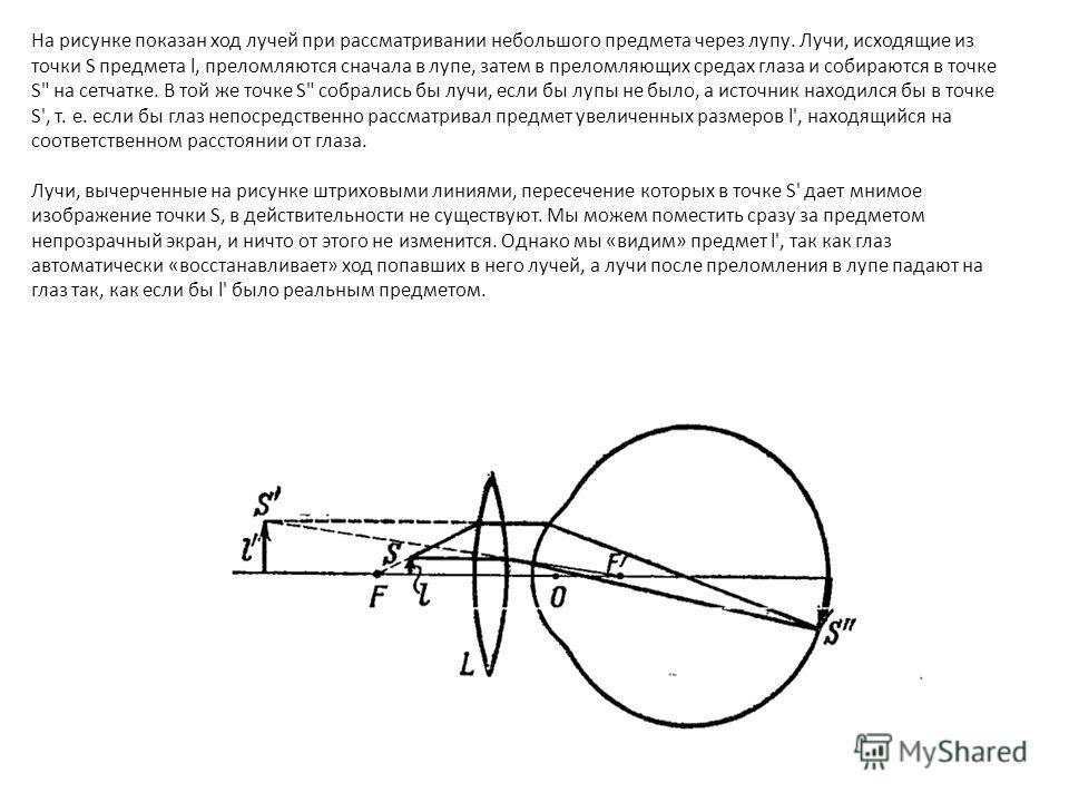 На рисунке показан ход лучей при рассматривании небольшого предмета через лупу. Лучи, исходящие из точки S предмета l, преломляются сначала в лупе, затем в преломляющих средах глаза и собираются в точке S