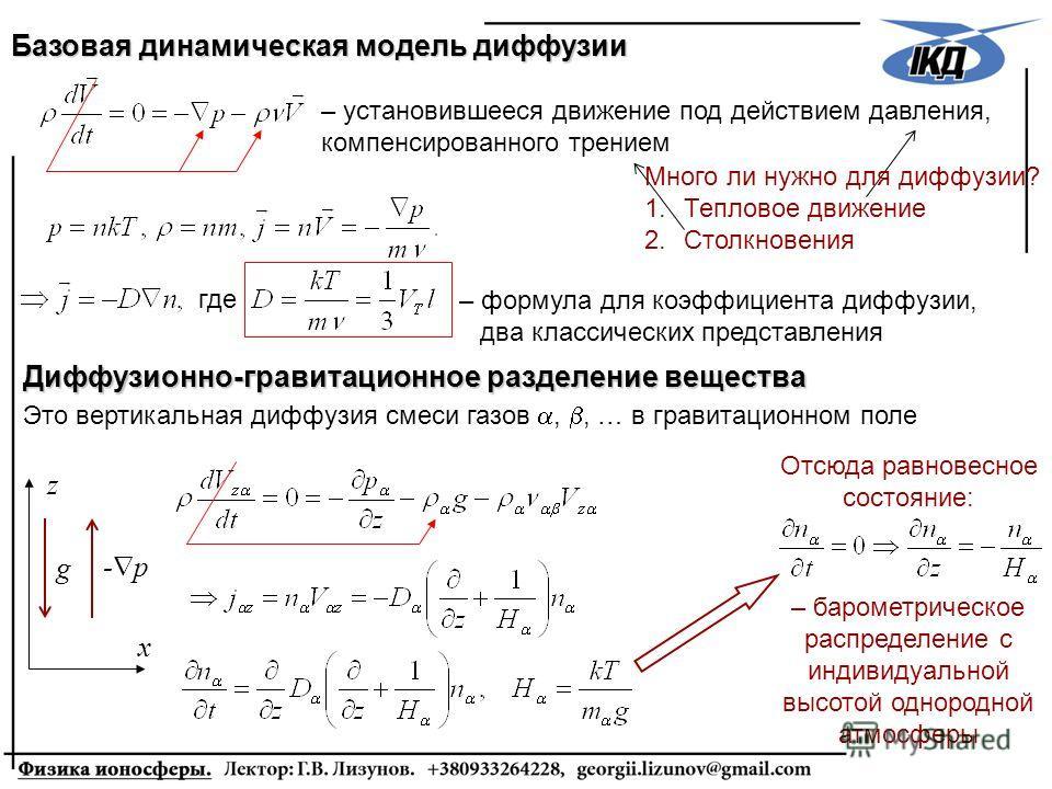 Много ли нужно для диффузии? 1.Тепловое движение 2.Столкновения Базовая динамическая модель диффузии z x g - p – установившееся движение под действием давления, компенсированного трением Диффузионно-гравитационное разделение вещества Это вертикальная
