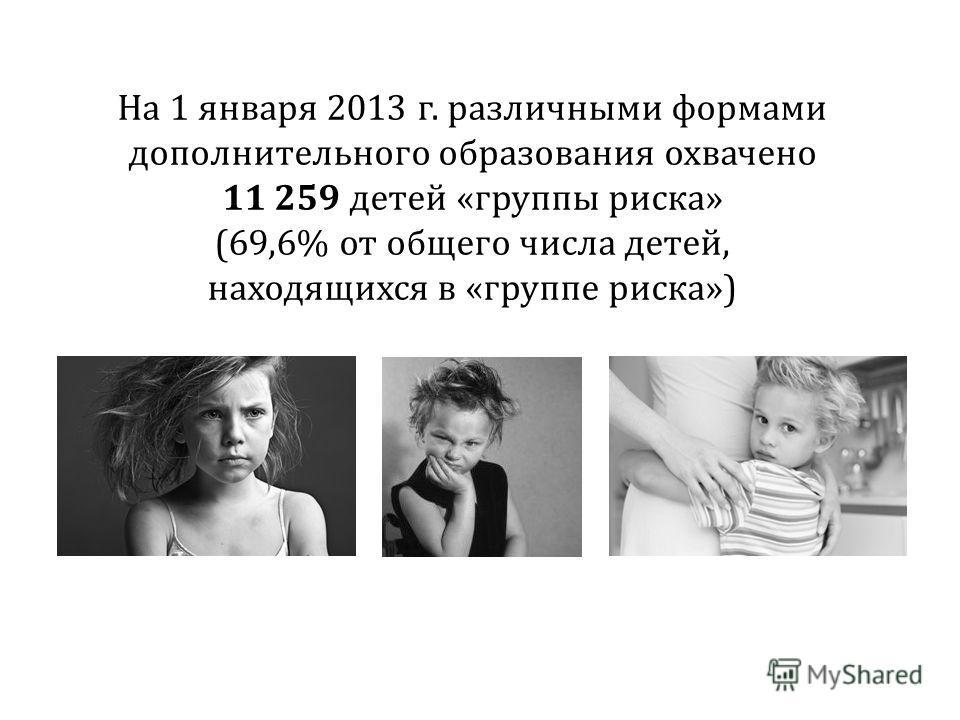 На 1 января 2013 г. различными формами дополнительного образования охвачено 11 259 детей «группы риска» (69,6% от общего числа детей, находящихся в «группе риска»)