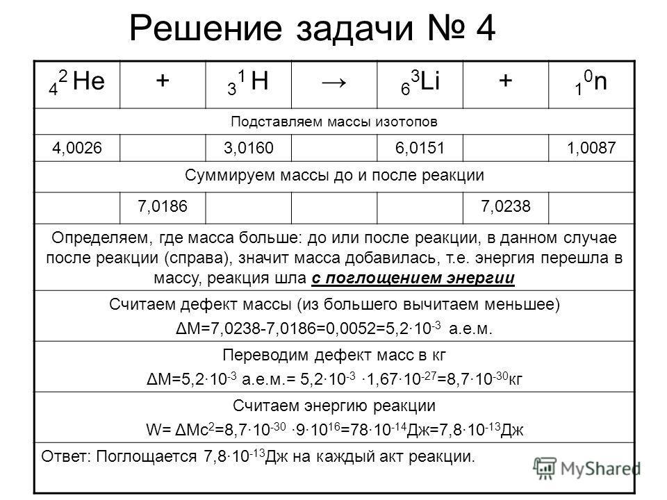 Решение задачи 4 4 2 He+ 31 H31 H 6 3 Li+ 10n10n Подставляем массы изотопов 4,00263,01606,01511,0087 Суммируем массы до и после реакции 7,01867,0238 Определяем, где масса больше: до или после реакции, в данном случае после реакции (справа), значит ма
